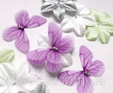 Бабочка из шифона, двухслойные шифоновые бабочки 46х36мм (сп7нг-7867)