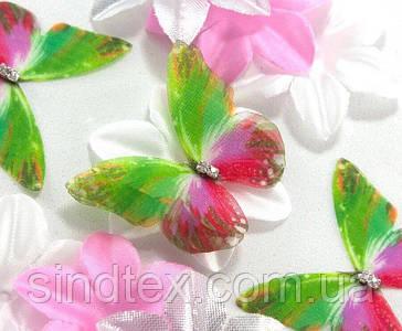 Бабочка из шифона, двухслойные шифоновые бабочки 45х36мм (сп7нг-7853)