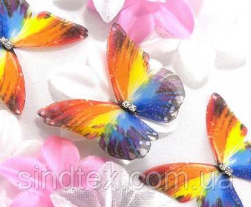 Бабочка из шифона, двухслойные шифоновые бабочки 47х38мм (сп7нг-7872)