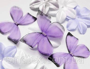 Бабочка из шифона, двухслойные шифоновые бабочки 45х40мм (сп7нг-7859)