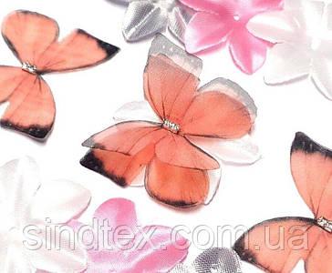 Бабочка из шифона, двухслойные шифоновые бабочки 45х35мм (сп7нг-7846)