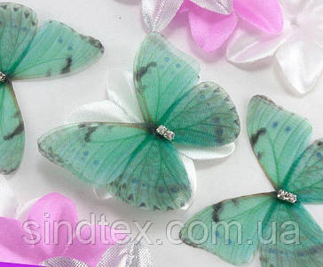 Бабочка из шифона, двухслойные шифоновые бабочки 45х40мм (сп7нг-7860)