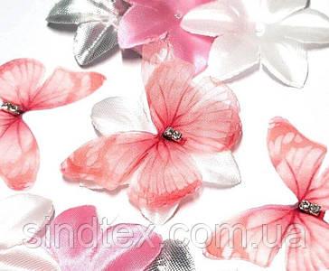 Бабочка из шифона, двухслойные шифоновые бабочки 46х38мм (сп7нг-7870)