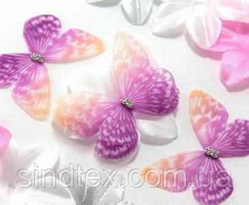 Бабочка из шифона, двухслойные шифоновые бабочки 45х35мм (сп7нг-7847)