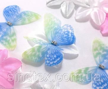 Бабочка из шифона, двухслойные шифоновые бабочки 45х35мм (сп7нг-7848)