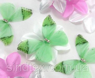 Бабочка из шифона, двухслойные шифоновые бабочки 45х35мм (сп7нг-7849)