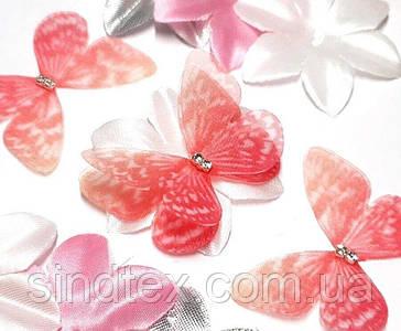 Бабочка из шифона, двухслойные шифоновые бабочки 45х35мм (сп7нг-7850)
