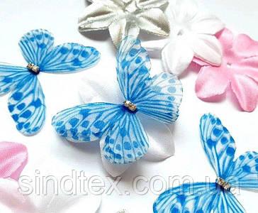 Бабочка из шифона, двухслойные шифоновые бабочки 45х40мм (сп7нг-7863)