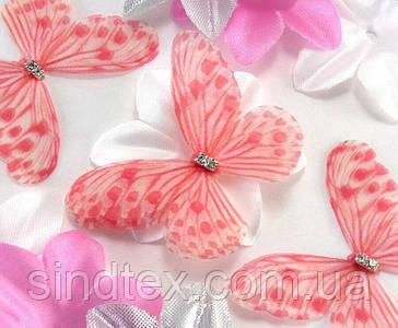 Бабочка из шифона, двухслойные шифоновые бабочки 50х36мм (сп7нг-7875)