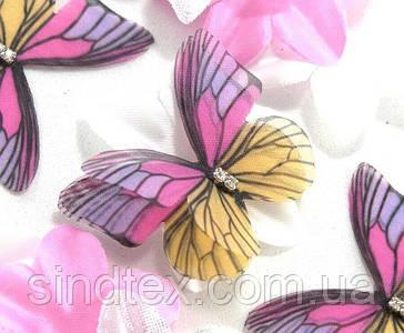 Бабочка из шифона, двухслойные шифоновые бабочки 50х36мм (сп7нг-7876)