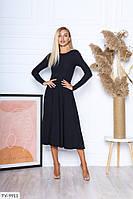 Ніжне трикотажне плаття в рубчик з спідницею кльош за коліно довжини міді Розмір: S, M, L арт. 7169