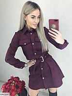Круте короткий замшеве сукня-сорочка міні приталене на кнопках під пояс Розмір: S, M, L арт. 110, фото 1