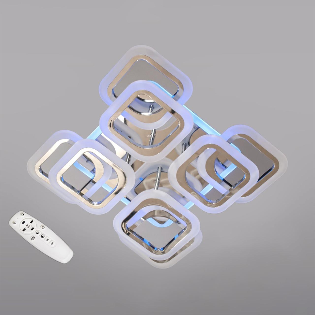 Світлодіодна люстра хром 110 Вт 45 см на пульті д/у з діммером і підсвічуванням D-HAS9171/4+4HR LED
