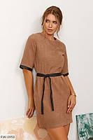 Классное короткое вельветовое однотонное платье мини прямое с кожаными вставками с поясом