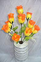Роза бутон - 10 голов ( 10 шт в уп), 40 см