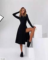 Стильне ефектне жіноче плаття в рубчик за коліно міді з розкльошеною спідницею з розрізом по нозі арт. 322