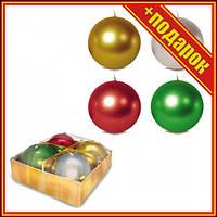 Свічка-куля 5 см., металік, 4 шт,Новогодняя свечка,Свечи декор набор,Свечи в интерьере,Декорированная
