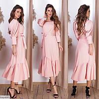 Романтичное однотонное платье за колено из костюмной ткани под поясок длины миди Размер: 42, 44, 46 арт. 730