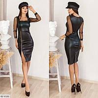 Ефектне приталені плаття з еко-шкіри з довгими рукавами з сітки і розрізом р: 42-44, 44-46 арт. 160