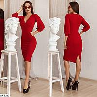 Однотонне витончене плаття з креп-дайвінгу комфортне приталене, верх на запах р:42-44,44-46 арт.107