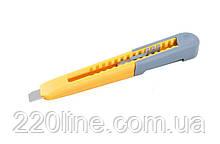 Нож MASTERTOOL 9 мм пластиковый кнопочный фиксатор зажим для кармана 17-0320