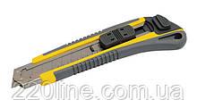 Нож MASTERTOOL АВТОМАТ 18 мм TPR покрытие с металлической направляющей кнопочный фиксатор 3 лезвия 17-0183