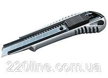 Нож MASTERTOOL 18 мм металлический с направляющей кнопочный фиксатор 17-0128