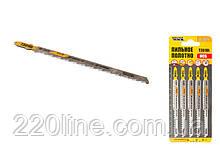 Пиляльне Полотно для лобзика MASTERTOOL по дереву 5 шт чистий прямий різ 6TPI 132 мм T301DL 14-2821