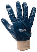 """Перчатки масло-бензостойкие утепленные MASTERTOOL нитриловое покрытие вязаный манжет 10.5"""" 104-108 г синие"""