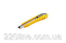 Нож MASTERTOOL 18 мм ABS пластик с металлической направляющей кнопочный фиксатор 3 лезвия 17-0101