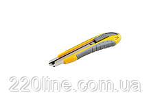 Нож MASTERTOOL ЭРГО 18 мм ABS пластик TPR покрытие с металлической направляющей кнопочный фиксатор 3 лезвия