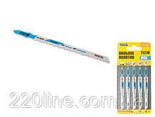 Пиляльне Полотно для лобзика MASTERTOOL з кольорового металу 5 шт чистий прямий різ 8TPI 100 мм T127D 14-2815