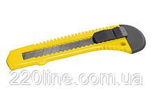 Нож MASTERTOOL 18 мм пластиковый кнопочный фиксатор 17-0518