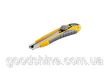 Нож MASTERTOOL ЭРГО 18 мм ABS пластик TPR покрытие с металлической направляющей винтовой замок 3 лезвия