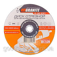 Диск абразивный отрезной для нержавейки и металла GRANITE PROFI +30 230х2.0х22.2 мм 8-06-231