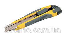 Нож MASTERTOOL 18 мм ABS пластик TPR покрытие с металлической направляющей кнопочный фиксатор 3 лезвия 17-0119