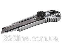 Нож MASTERTOOL 18 мм металлический с направляющей винтовой замок 17-0198