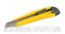 Нож MASTERTOOL 18 мм ABS пластик с металлической направляющей кнопочный фиксатор 2 лезвия 17-0106