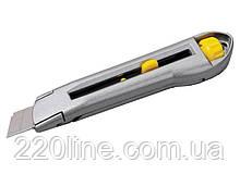 Нож MASTERTOOL 18 мм металлический двойной фиксатор 17-0078