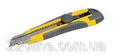 Нож MASTERTOOL 18 мм ABS пластик TPR покрытие с металлической направляющей винтовой замок 3 лезвия 17-0118