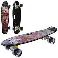 Скейт пенні, 55.5-14,5 см, пластик-антиковзаючий, алюмінієва підвіска, колеса ПУ, світло, підшипники 608ZZ