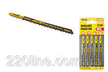 Пиляльне Полотно для лобзика MASTERTOOL по дереву 5 шт швидкий прямий різ 6TPI 100 мм T111D basic 14-2817