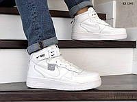 Мужские зимние кроссовки на термопрокладке в стиле Nike Найк Air Force 1 07 Mid LV8, кожа, белые 44 (28 см),