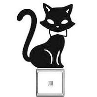 """Наклейка на стену, виниловые наклейки, украшения стены наклейки """"ЧерныЙ Кот на выключатель, розетки"""" (11*10см)"""