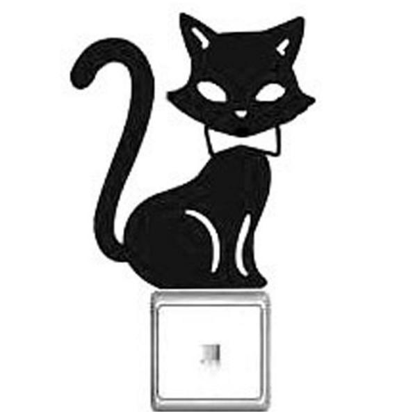 Коты наклейки черные