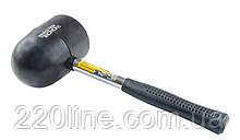 Киянка резиновая MASTERTOOL 90 мм 1250 г металлическая рукоятка полукруглый боек черная 02-1305