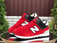Женские зимние кроссовки на меху в стиле New Balance Нью беланс 574, красные 36 (23 см), Д - 9980