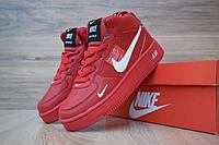 Женские зимние кроссовки в стиле Nike Найк Air Force 1 Mid LV8, кожа, красные с белым 36 (23 см), ОД - 3325