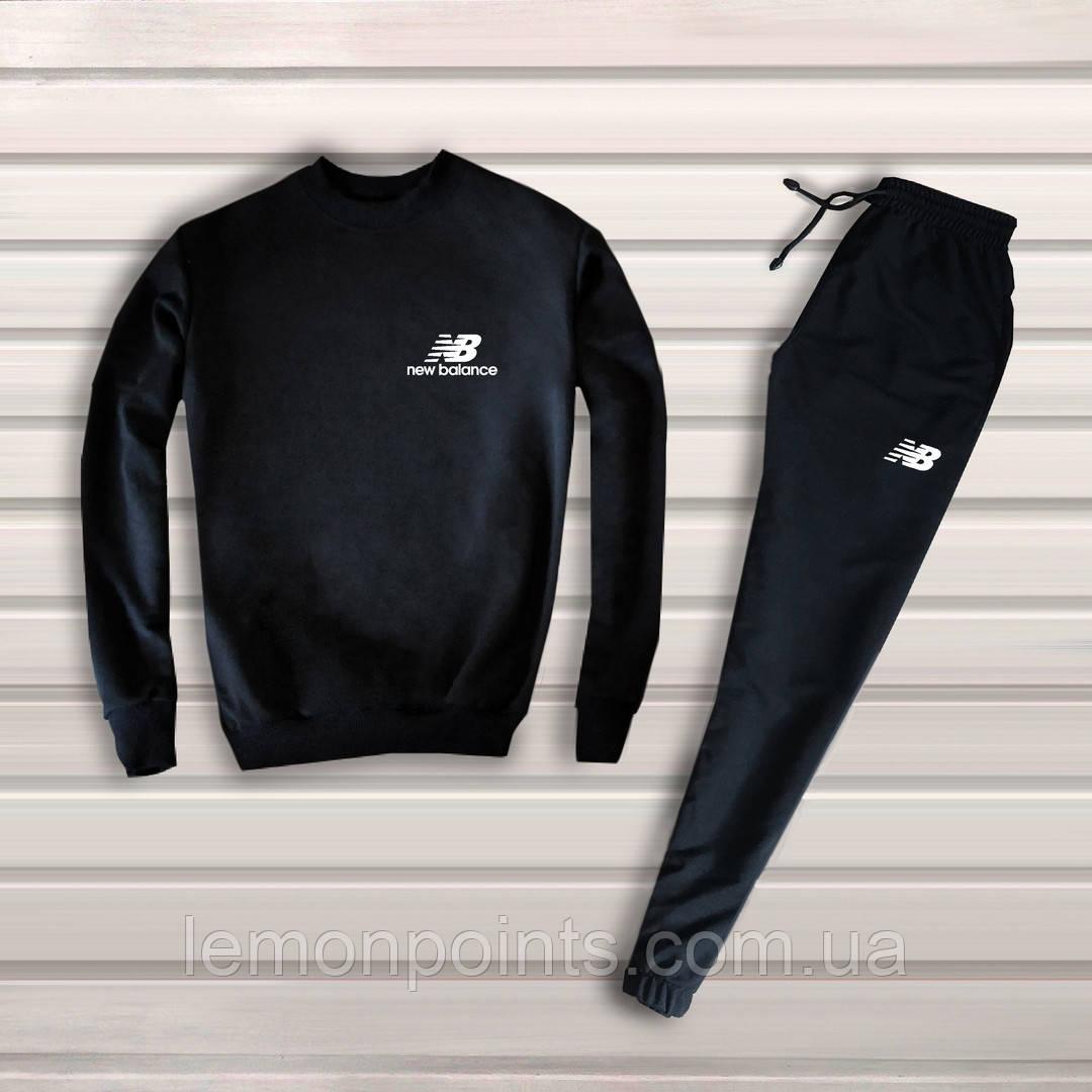 Теплый мужской спортивный костюм New Balance без капюшона (нью беланс) черный ФЛИС (до -25 °С)