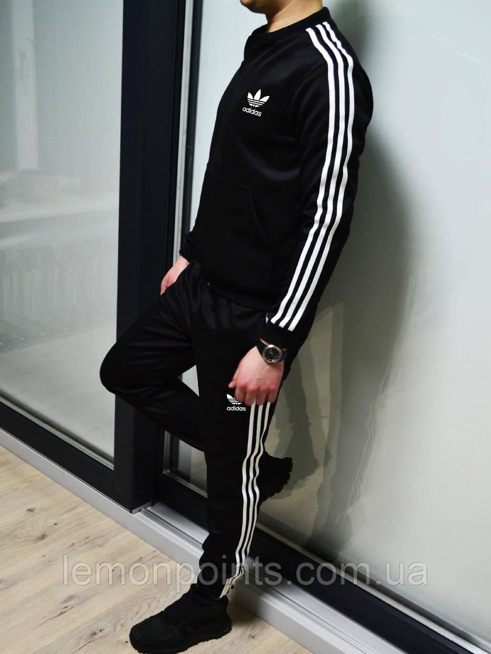 Теплый мужской спортивный костюм с лампасами Adidas на молнии (адидас) дайвинг черный (Флис)